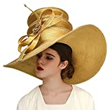 Kueeni Women Hats Church Hats Exaggeration Designer Fashion Lady Wide Brim Hats (Gold)