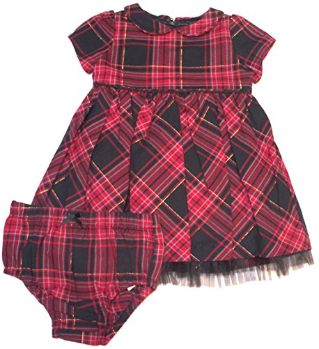Hartstrings Infant Red and Black Plaid Dress with Diaper Cover (24 Months)