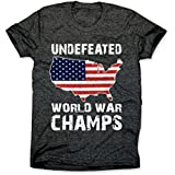 Undefeated Back to Back World War Champs Shirt - USA T-Shirt - Patriotic Tee Charcoal Medium Tee