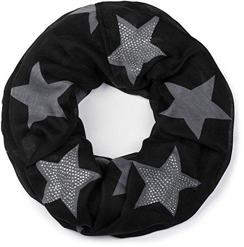 styleBREAKER Loop Schlauchschal mit Sterne Muster und edler Strass Applikation, Damen 01018086, Farbe:Schwarz-Grau