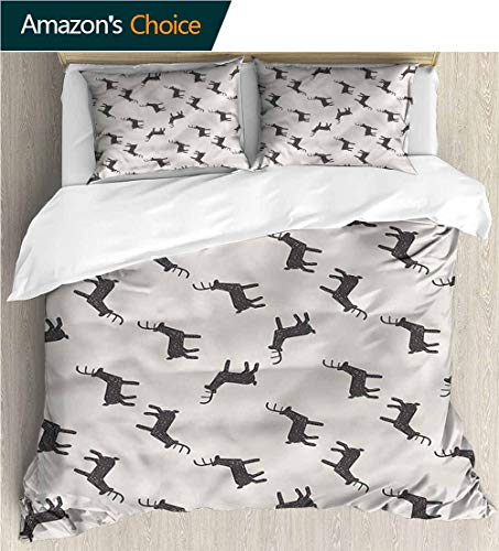 - Home 3 Piece Print Quilt Set,Box Stitched,Soft,Breathable,Hypoallergenic,Fade Resistant Patterned Technique King Quilt Set-Deer Joyful Childish Deer Doodle (80