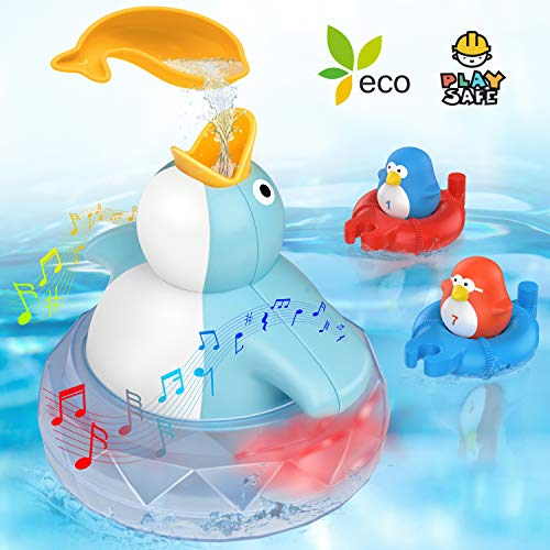 Bath Toys Bathtub Toy for Toddlers Kids Babies 2 3 4 5 Years Old Boys and Girls, 1 Floating Penguin with Music and LED light, 2 Squirting Cute Penguins Toy Baby Bath Toy Birthday Gift Ideal Color Box