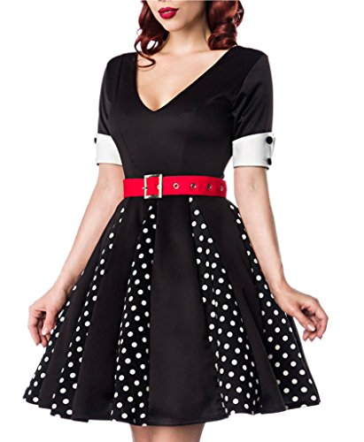 Ginger Black In Dress (Ginger 50s V-Neck Dress in Black with Black and White Dot Pleat Inserts)