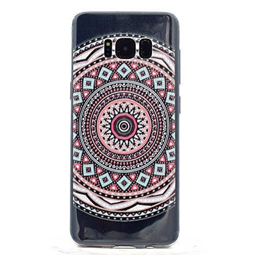 Funda Carcasa Transparente Silicona para Samsung Galaxy S8[con Gratis Pantalla Protector],KaseHome Único Patrón de Colores Diseño Cristal Claro Ultra Delgado Suave Durable Caucho Parachoque Alta Resis Flor de Mandala