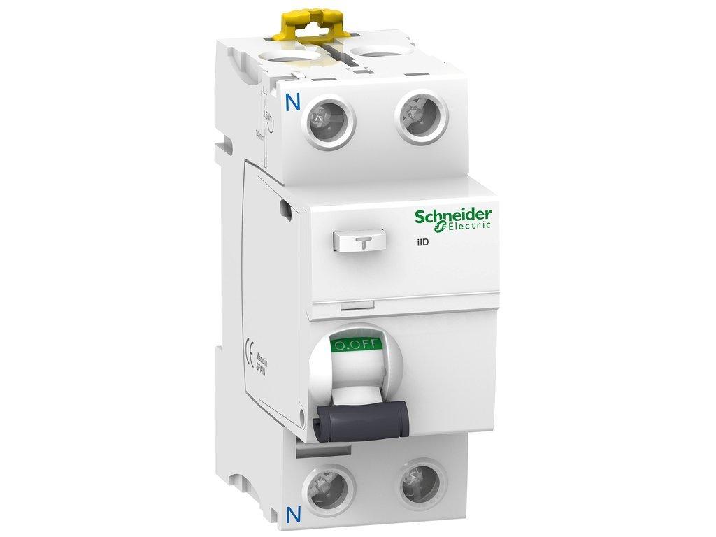 Schneider Electric A9R81225 iID Interruptor Diferencial, Clase AC, 2P, 25A, 30mA, 73.5mm x 36mm x 91mm, Blanco