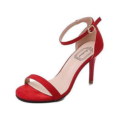 Ansenesna Sandalen Damen Sommer Mit Absatz Elegant High Heels Sommerschuhe  Mädchen Offen Schuhe Schwarz Rot Beige 3635cd5e32