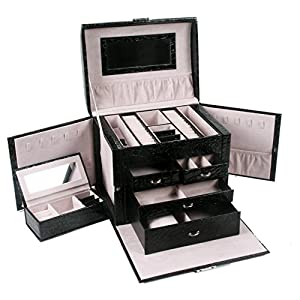 Queentools Jewelry Box Travel Case Lockable, Mini Jewelry Travel Case Color Black