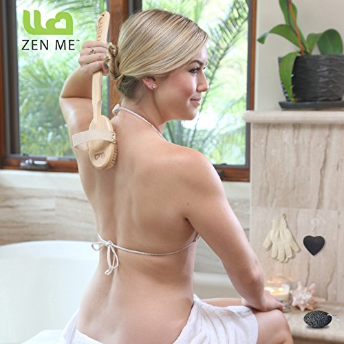 Premium Dry Brushing Body Brush for Lymphatic Drainage & Cellulite Treatment! Plastic-Free Natural Exfoliating Brush Set with Scrub Gloves, Konjac Sponge, Pumice Stone for Glowing More Youthful Skin! by ZEN ME (Image #1)