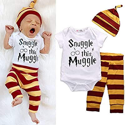 3Pcs/Set Infant Baby Boy Girl Snuggle this Muggle Rompers+Striped Pants+Hat Take Home Outfits