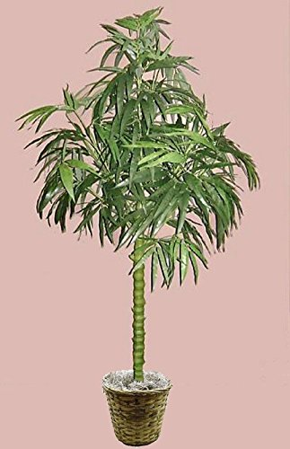 7' Artificial Silk Bamboo Palm Tree Plant Basket Arrangement Topiary Sago Date by Black Decor Home