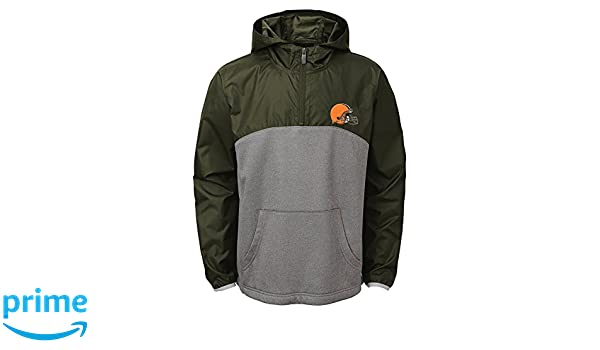 Brown Suede 10-12 Medium NFL Cleveland Browns Youth Boys 8-20Convex 1//4 Zip Jacket