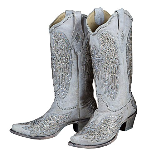 CORRAL Women's White Cross and Wings Snip Toe Cowgirl Boots A3571 (7 B(M) US) ()