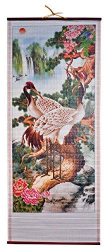 Harvey J Rattan Wall Scroll - 2 Cranes