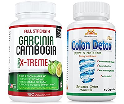 95% HCA - 180 Caps. GARCINIA CAMBOGIA X-TREME+ COLON Detox 40% OFF! COMBO PACK = 3 Months UNINTERRUPTED Supply in a SINGLE BOTTLE! * $$ BACK GUARANTEE - 45 DAYS RETURN * SAME DAY SHIPPING *