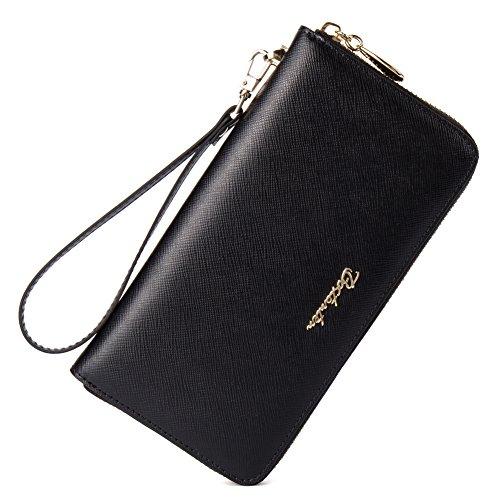 BOSTANTEN Women Leather Wallet Clutch Bag Card Case Cash Holder Wallets Black