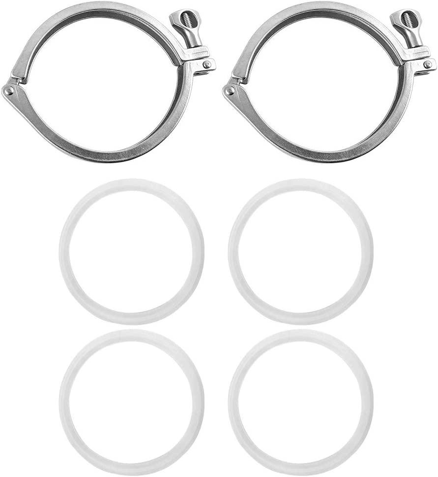 2 Pack QWORK 304 Stainless Steel 4 Single Pin Heavy Duty Tri Clamp with Wing Nut and Silicone Gasket