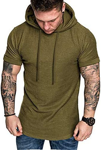 COOFANDY Mens Fashion Athletic Hoodies Pullover Muscle Fit Workout Gym Sweatshirt Cotton Short Sleeve Hooded T-Shirts
