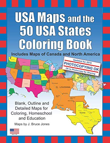 - USA Maps and the 50 USA States Coloring Book: Includes Maps of Canada and North America