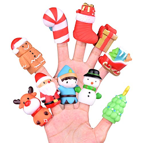 10 Pcs Christmas Finger Puppets, Best Choice for Christmas Stocking Stuffers, Party Favors, Pinata Fillers and Goodie Bag Fillers (Shows Puppet Christmas)
