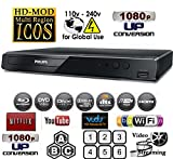 NEW PHILIPS BDP2501 Wi-Fi - Multi System All Region Free Blu Ray Disc DVD Player - PAL/NTSC - USB - 100-240V 50/60Hz for World-Wide Use & 6 Feet HDMI Cable