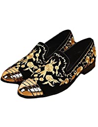 US Size 5-12 Steel Toe Gold Embroidered Leather Mens Dress Slip On Loafer Shoes