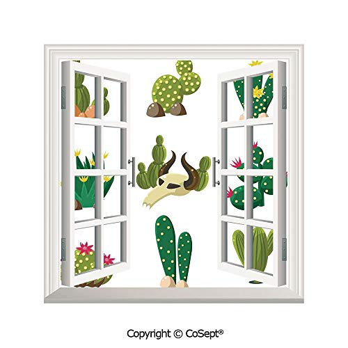SCOXIXI Artificial Window Wall Applique Landscape Wall Decoration,Mexican South Desert Animals Cactus Plants Skeletons Flowers Cartoon Image,Window Decorative Decals Interior(26.65x20 -