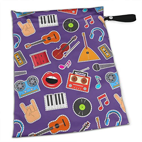 Colorful Cute Musical Instruments Equipment Purple Wet Bag with A Zipper Pocket Reusable Diaper Bag