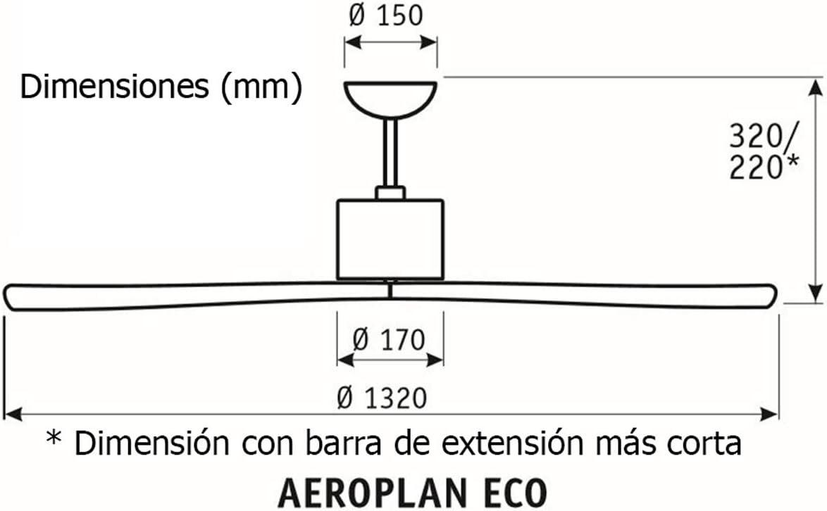 Aeroplan Eco BN We Ala Madera Blanco Ventilador de techo