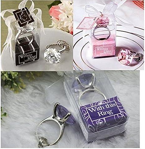 Lote de 20 LLaveros Diamante Cristal en estuche de regalo - Llaveros Originales Bodas - Detalles invitados de Bodas, Regalos para Bodas, ...