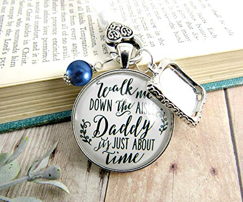 - Wedding Bouquet Charm Walk Me Down The Aisle Daddy White Blue Memorial Jewelry Keepsake Gift Personalized Photo Frame