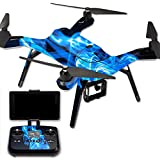 MightySkins Protective Vinyl Skin Decal for 3DR Solo Drone Quadcopter wrap cover sticker skins Blue Flames