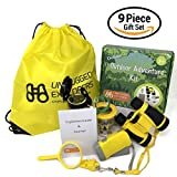 Unplugged Explorers 9 Piece Kids Outdoor Adventure Kit - Purple or Yellow Backpack, Binoculars, Flashlight, Compass, Bug Collector, Whistle, Magnifying Glass - Educational Boy Girl STEM Gift (Yellow)