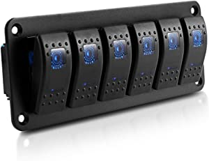 Auxbeam 6 Gang Led Switches Panel Control with Blue Light for RV Trailer Marine Boat Truck Camper