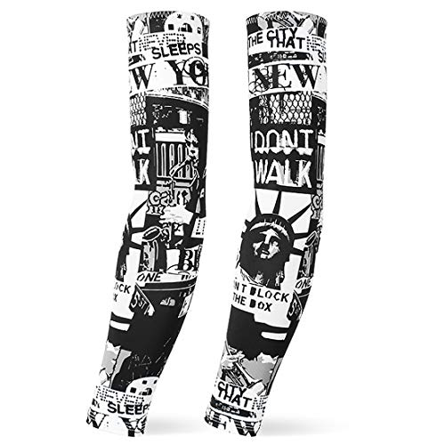 fancyfree Sports Compression Arm Sleeve, Tattoo Arm Cover for Youth and Adult, Perfect for Basketball, Football, Hiking, Running, Cycling, Fishing (Statue of Liberty (L)) -