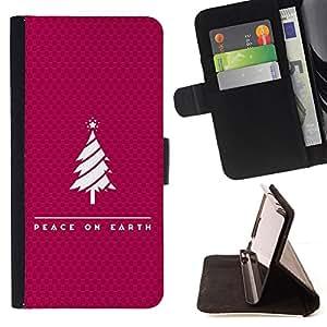 BullDog Case - FOR/Samsung Galaxy S3 III I9300 / - / PEACE ON EARTH /- Monedero de cuero de la PU Llevar cubierta de la caja con el ID Credit Card Slots Flip funda de cuer