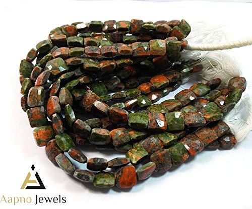 1 Strand Natural Unakite Loose Beads Strand, 8-9mm 8 Inch Faceted Square Unakite Beads, Unakite Beads Necklace, Jewelry Making Unakite Beads, Straight Drill Unakite Beads
