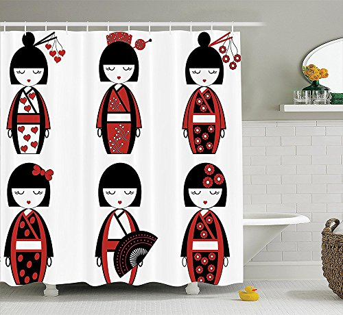 [Girly Decor Collection Unique Japanese Geisha Dolls in Folkloric Costumes Outfits and Hair Sticks Kimono Art Image Polyester Fabric Bathroom Shower Curtain Set with Hooks Black] (Meaning Costume Design)
