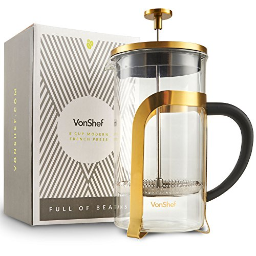 (VonShef Premium Glass Heat Resistant French Press Cafetiere Coffee Maker, Stainless Steel, Gold, 1 Liter, 34 Fluid Ounces, 8 Cup)