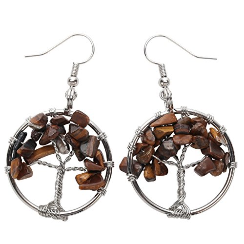 Tigers Eye White Earrings - YACQ Natural Gemstone Tree Dangle Drop Earrings Handcrafted Jewelry for Women (tiger-eye)