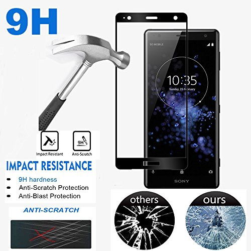 [2-Pack] Sony Xperia XZ2 Screen Protector, AOLANDER [Full Screen Coverage] [Bubble Free] [HD Clear] 9H Hardness Premium Tempered Glass Screen Protector for Sony Xperia XZ2 (Black)