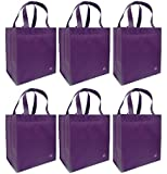 Reusable Grocery Totes, Solid Color, 6 Pack (Purple)