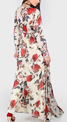 Jaycargogo Womens Imprimé Floral V-cou Longue Robe Maxi Partie De Manchon 1