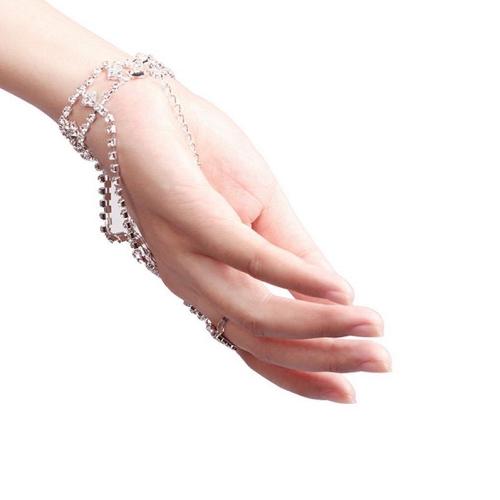 Finger Ring Bracelet for Women Girl Teen Cuekondy Rhinestone Link Chain Hand Bangle Charm Jewelry