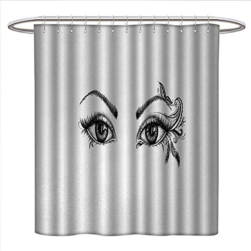 Eyelash Shower Curtain Customized Monochrome Artistic Drawing of Young Woman Eyes Feathers Butterfly Floral Details Patterned Shower Curtain W54 x L78 Black White (Hydra Floral Eye)