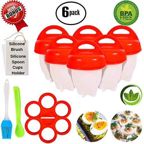 No.1 Hard Boiled Silicone Egg Cooker Without The Shell, Non Stick Egg Boil Poacher, As Seen On TV, With Bonus Holder & Silicone Oil Brush, (6pc), Red