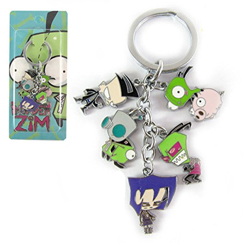 Invader ZIM Metal Keychain character doll pendant Key Ring