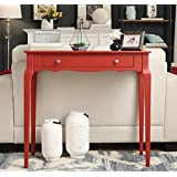 ModHaus Living Modern Cottage Wood Narrow End Sofa Console Accent Table with Storage Drawer - Includes Pen (Red)