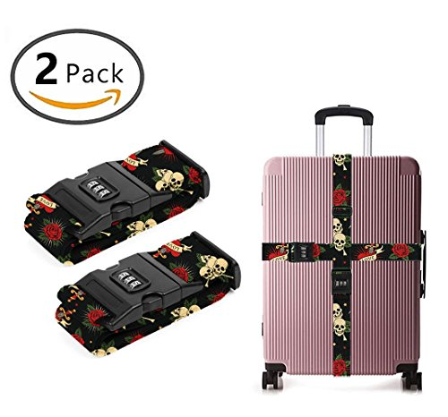 Delsey Black Camera Bag - YEAHSPACE sugar Skulls flowers 2 Pack Luggage Straps Suitcase Adjustable Belt Travel Bag Accessories
