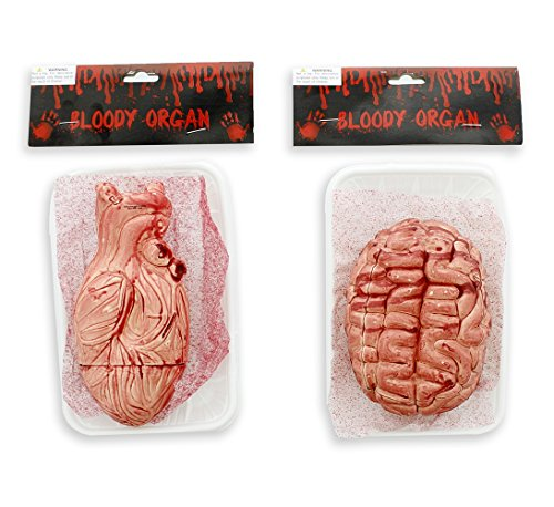 Bloody Organ Plastic Prop - on Tray (2 Assorted) - Halloween Decoration - Prank