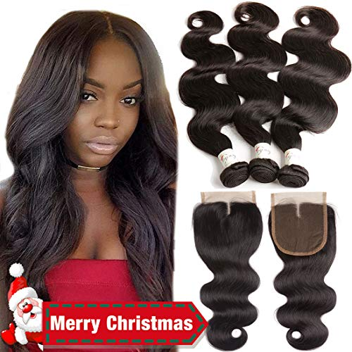 9A Brazilian Virgin Hair 3 Bundles With Closure Body Wave 16 18 20 With 14inch Middle Part Closure 100% Unprocessed Human Hair Weave Bundles With Top Quality Lace Closure Brazilian Body Wave
